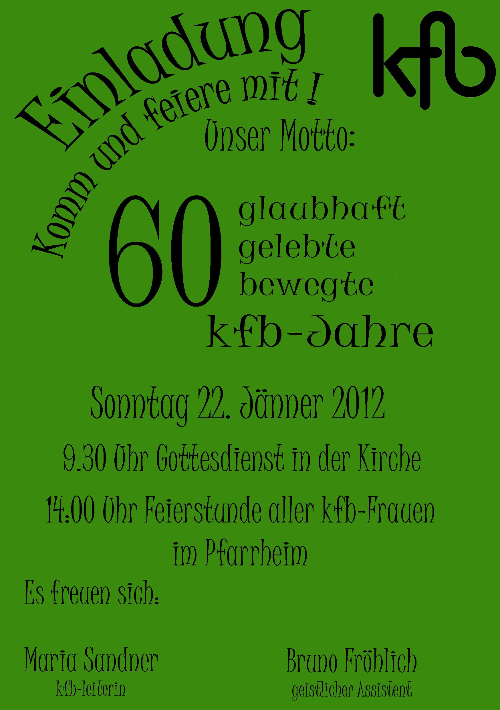 60 jahre kfb | pfarre kefermarkt, Einladung